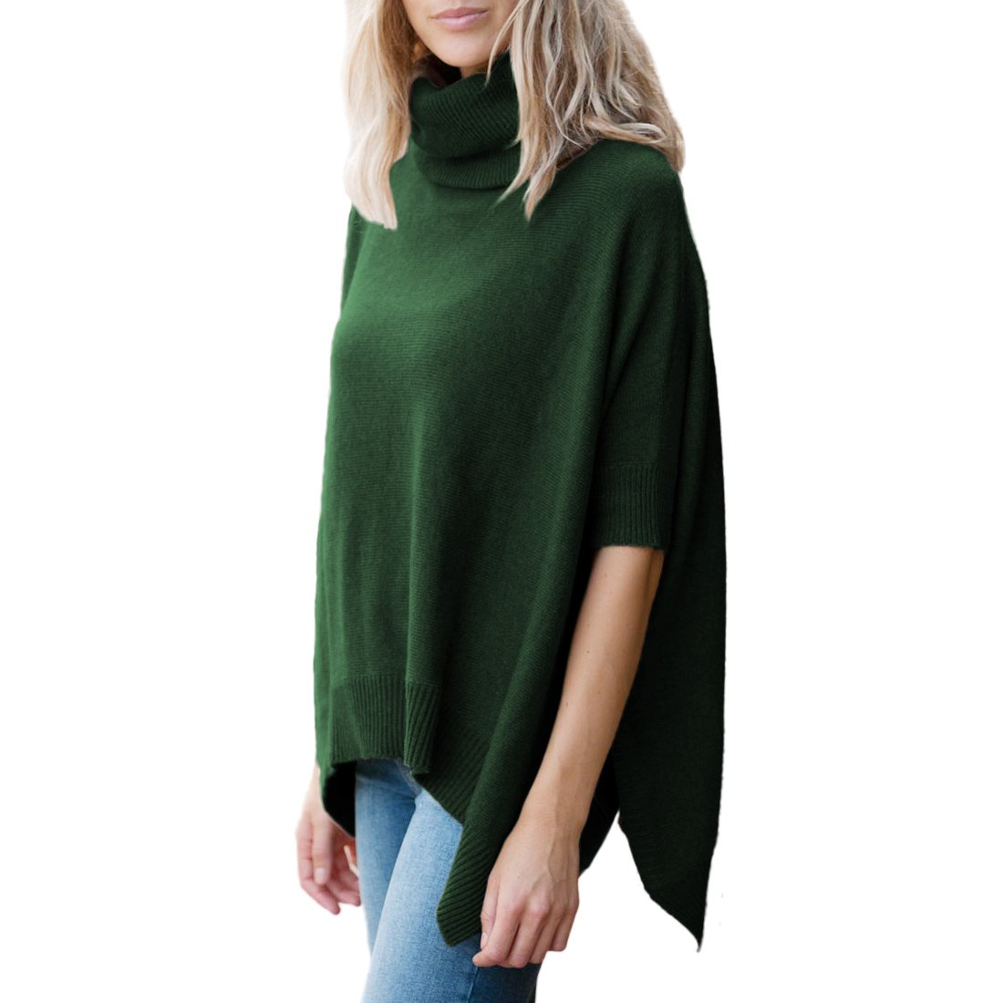 Parisbonbon Women's 100% Cashmere Pullover style Poncho Color Hunter Green Size L by Parisbonbon
