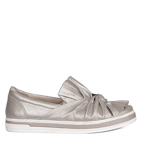 d5d60d56eaa TJ Collection Women's Taupe Metallic Leather Knot Slip-Ons GD 5223918 TPZ:  Amazon.co.uk: Shoes & Bags