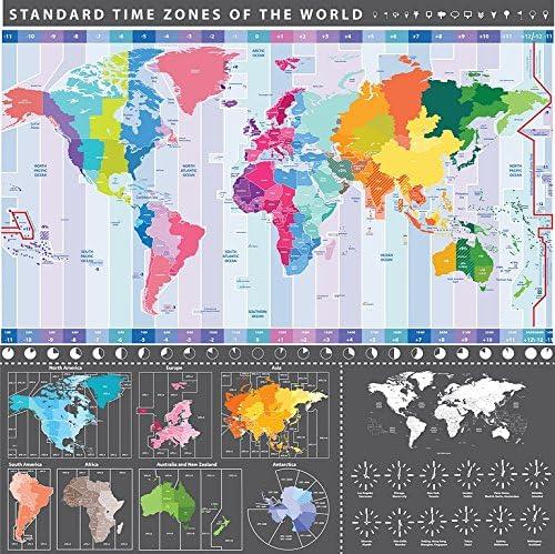 Cartina Fusi Orari Mondo.Maxi Poster Da Parete Con Mappa Del Mondo Grafico Con Fusi Orari 58 Cm X 56 Cm Amazon It Casa E Cucina