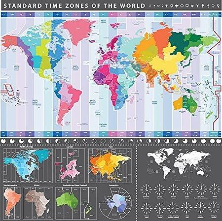 Cartina Fuso Orario Mondo.Dettagliata Mappa Del Mondo Grafico Con Fusi Orari Maxi Poster Da Parete 58 Cm X 56 Cm Amazon It Casa E Cucina