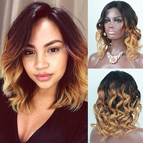 (RosesAngel 1B/30/27 Short Human Hair Wigs for Black Women Ombre Wig Glueless Human Hair Lace Front Wigs Brazilian Lace Front Wigs Bob (10