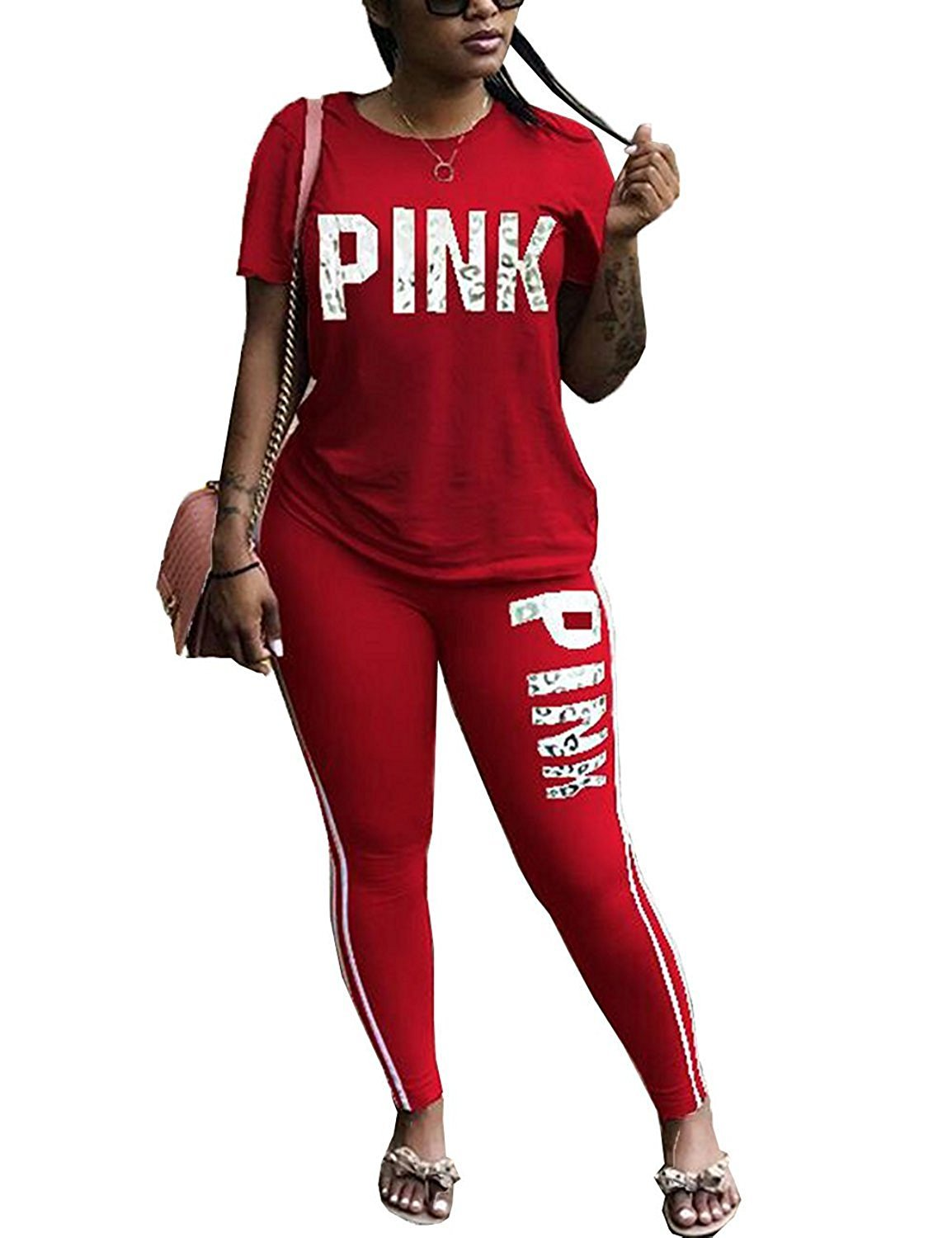 Salimdy Women Pink Letter Print Tracksuit 2 Piece Outfits Casual T-Shirt Tops and Skinny Long Pants Jumpsuit Red L