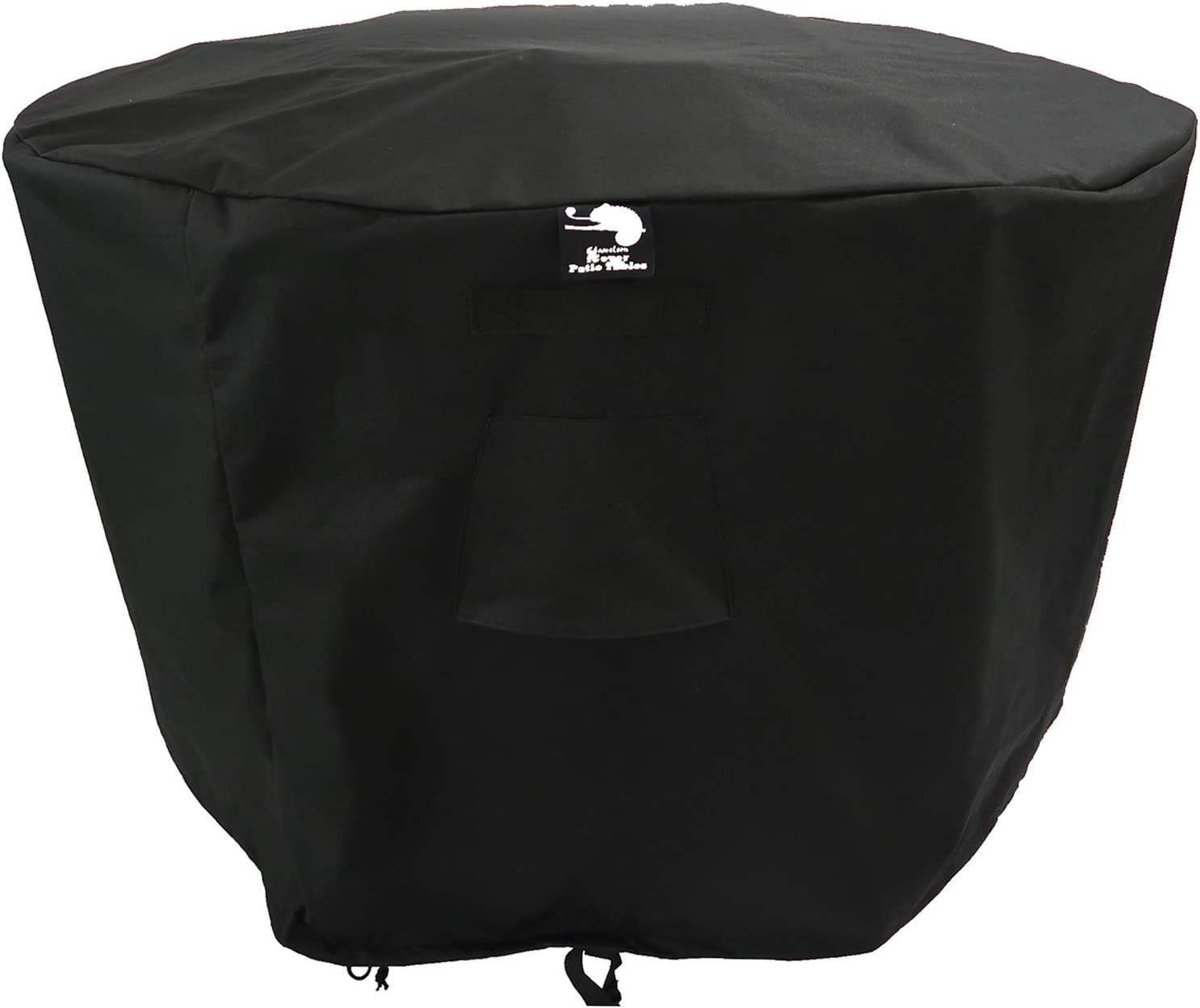 280cm x 100cm ICover Round Black Garden Table Cover Waterproof Thick Oxford 600D Material 2x Buckled Straps Outdoor Furniture cover Breathable Vents
