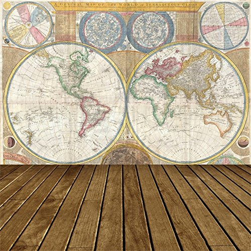 - LFEEY 6x6ft Old World Map Backdrop Vintage Parchment Wood Floor Hemispheres Atlas Photo Shoot Global Exploration Background for Photography Studio Props