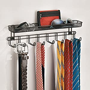 InterDesign Classico Wall Mount Closet Organizer - Storage Rack with Shelf for Ties, Belts or Wallets, Bronze