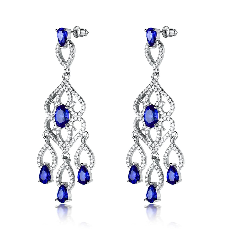 GULICX Silver Tone Flower Teardrop Cubic Zirconia CZ Flawless Party Blue Chandelier Long Dangle Earrings