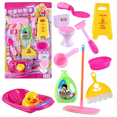 Coxeer 11PCS Kids Bathroom Cleaning Set Funny Fashion Household Playset Pretend Toy for Bathroom Kids Have Fun: Toys & Games