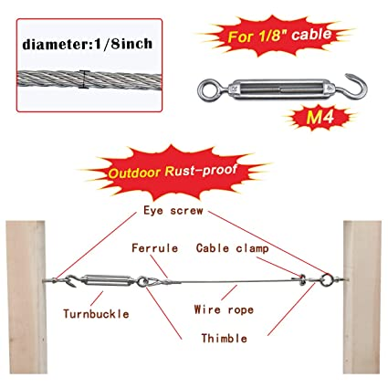 Muzata Stainless Steel 304 Turnbuckle Hook//Eye Cable Wire Rope Tension M4-10PACK CR19