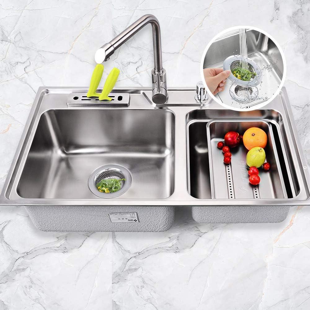Large Wide Rim 4.5 Diameter Anti Clogging Mesh Drain Strainer for Kitchen Sinks Drain Stainless Steel Drain Cover 2 Pack Kitchen Sink Strainer