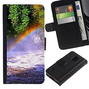 Paccase / Billetera de Cuero Caso del tirón Titular de la tarjeta Carcasa Funda para - Nature Rainbow Falls - Samsung Galaxy S5 V SM-G900