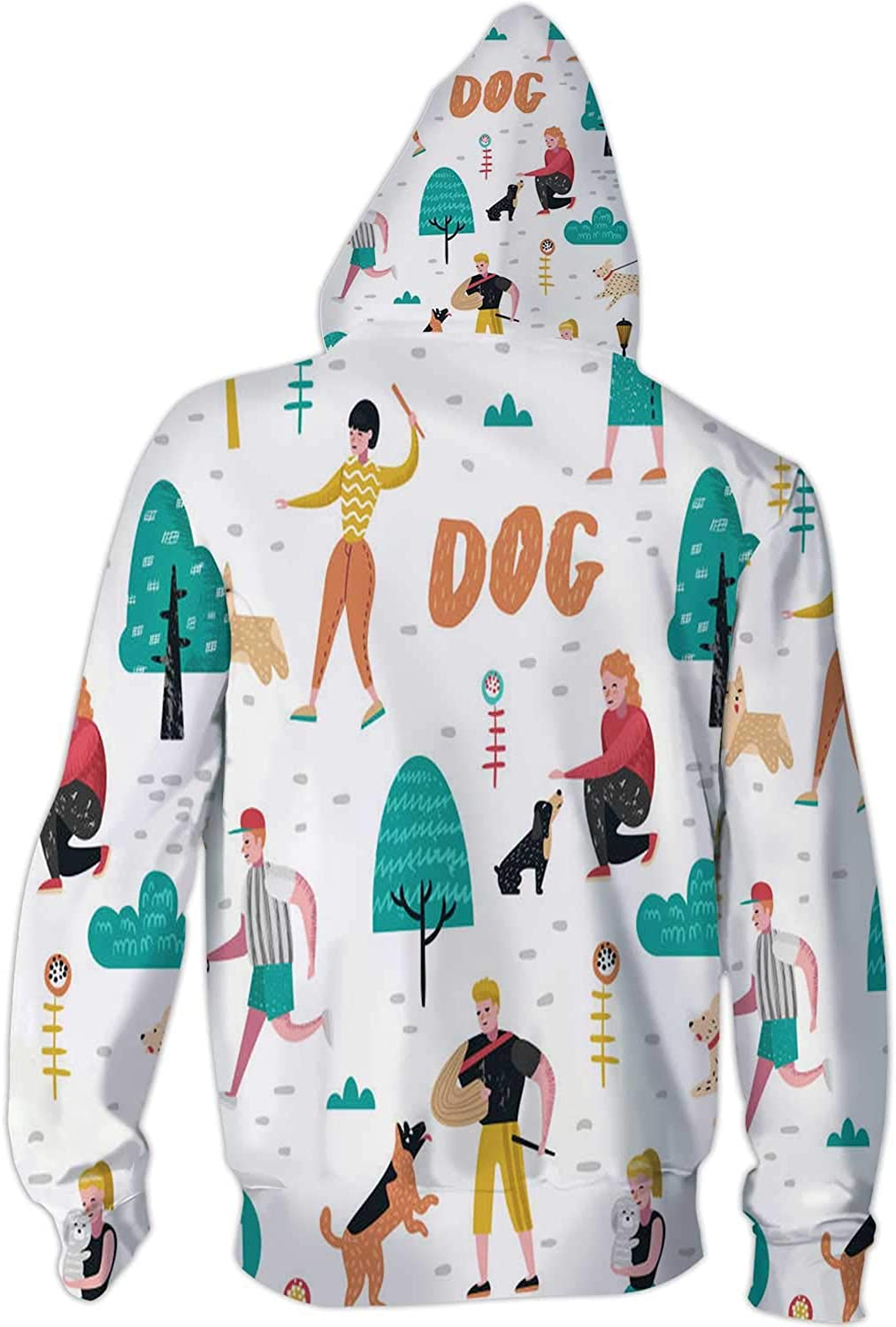 Happy Kid Hugging Grandfather Illustration Animal,Men//Womens Warm Outerwear Jackets and Hoodies Dog S