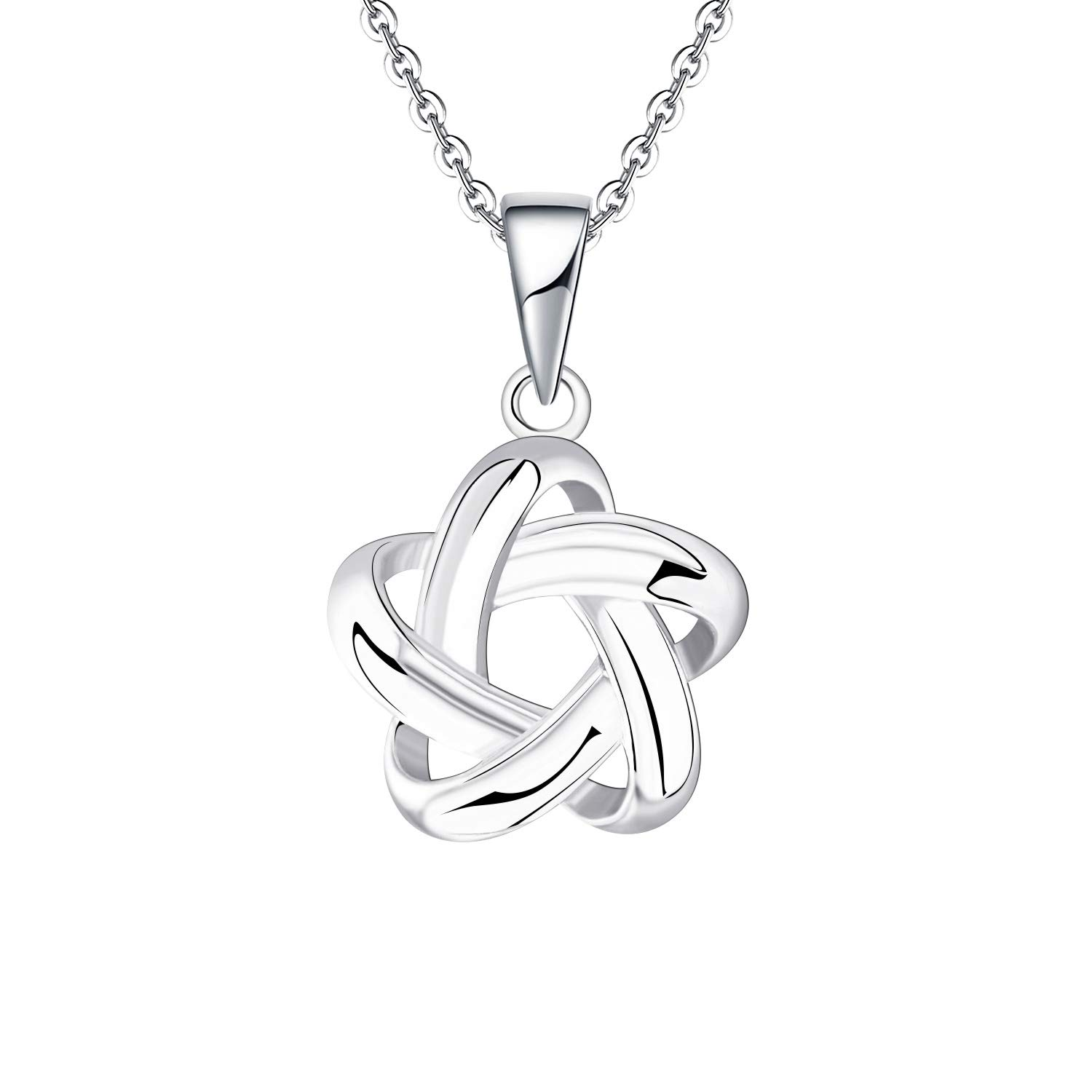 9ct White Gold Diamond Love Knot Pendant Necklace on Chain