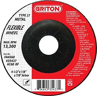 4.5 Diameter 13300 RPM Aluminum and Stainless Steel Griton FA4560 Type 27 Flexible Surface Preparation Wheel Used on Metal Aluminum Oxide//Silicon Carbide Pack of 20
