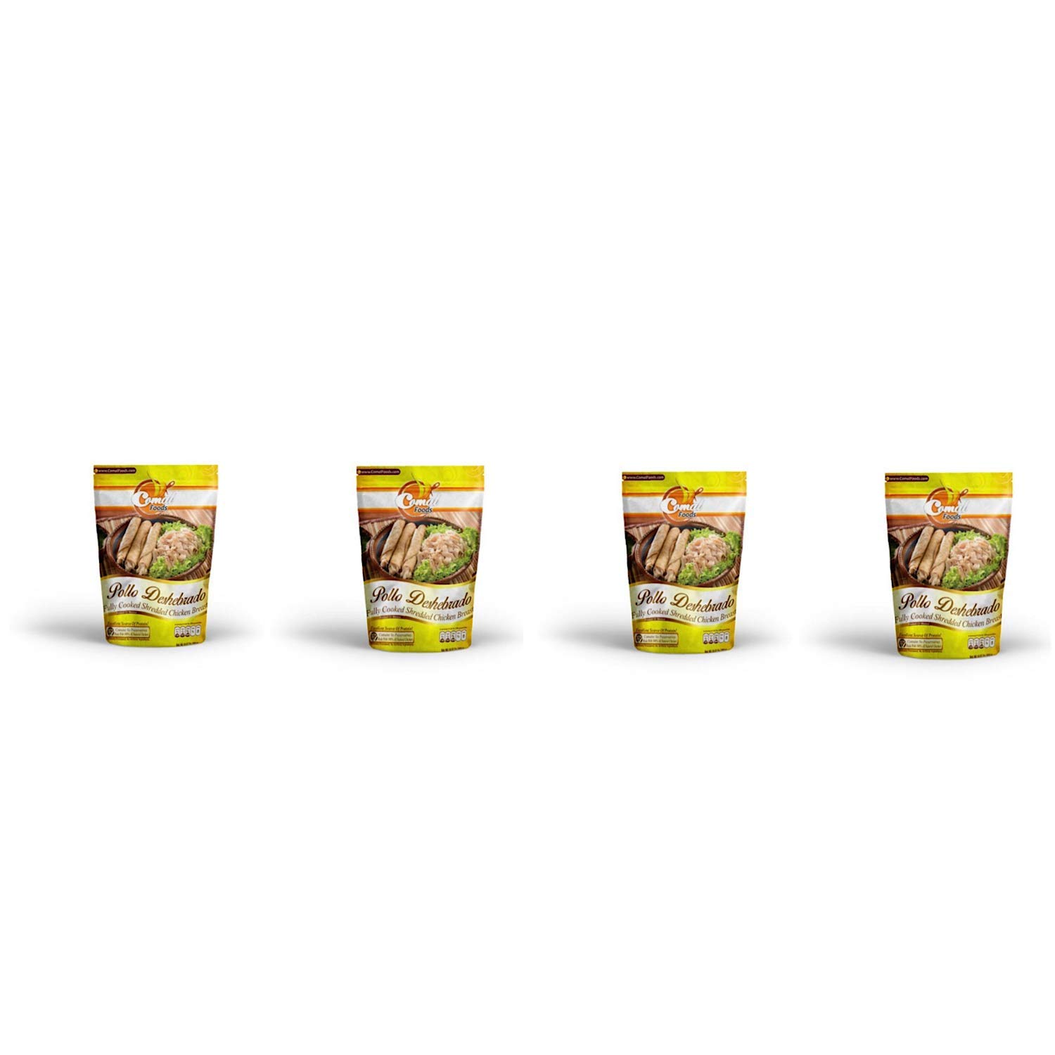 Comal Traditional Foods |Tasty and Flavorful Chicken, beef and pork | Ready-to-eat | Gluten Free || Mexican food (Shredded Chicken, Pack of 4)