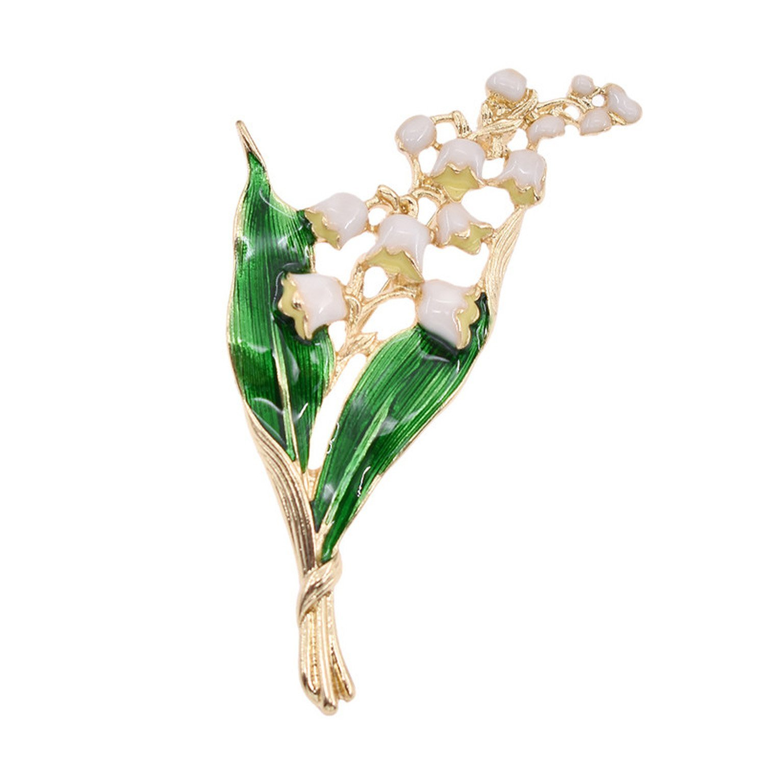 Trendy Alloy Enamel White Floral Leaf Brooch Lily Of Valley Gold Color Brooch Pin Jewelry For Women by Baolustre (Image #1)