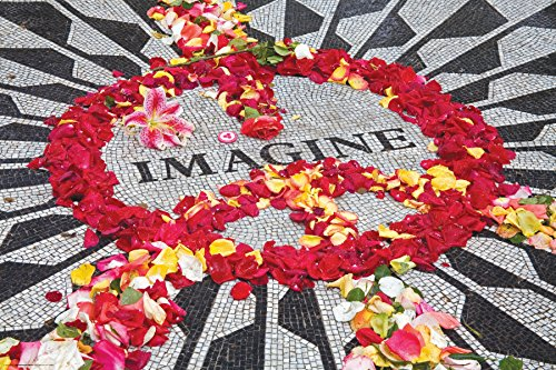 Culturenik Imagine Peace Flowers Memorabilia (John Lennon, The Beatles) Photography Decorative Art Poster Print 24x36