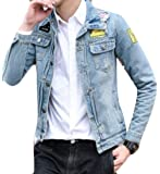 KLJR-Men Winter Botton Down Lapel Patch Denim Jacket Coats
