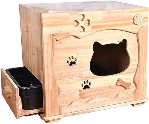 YUIOLI Caja de Arena Desmontable de Madera para Gatos, Caja de ...