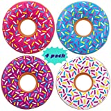 """4E's Novelty 4 Donuts Swim Tubes, Inflatable Donuts - 22"""" inch - Pool Party Floats and Donuts Party Decorations, Assorted Colors"""