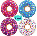 4 DONUTS Swim tubes, INFLATABLE DONUTS - 22'' inch - Pool party floats and donuts party decorations, Assorted Colors By 4E's Novelty,