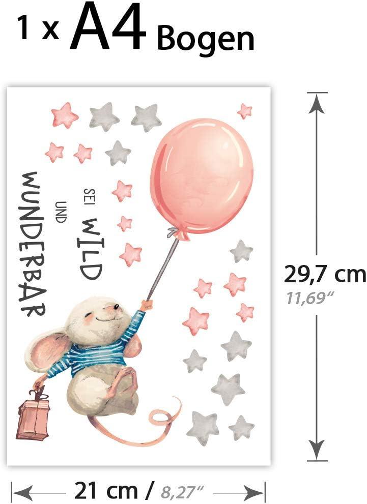 I Luftballon Wandbilder Wandtattoo Kinderzimmer Madchen Tiere Deko Babyzimmer Kinder Dl314 16 X 29 Cm Bxh Little Deco Aufkleber Maus Mit Spruch Sei Wild I S