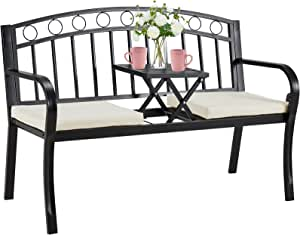 AVAWING Outdoor Steel Garden Bench, Patio Bench w/Pullout Middle Table& Cushion, Steel Double Seat for Park Yard Lawn Deck Entryway
