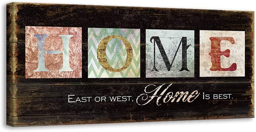 Kas Home Inspirational Motto Canvas Wall Art,Family Prints Signs Framed,Retro Artwork Decoration for Bedroom,Living Room & Home Wall Decor (8 x 16 inch, Home)