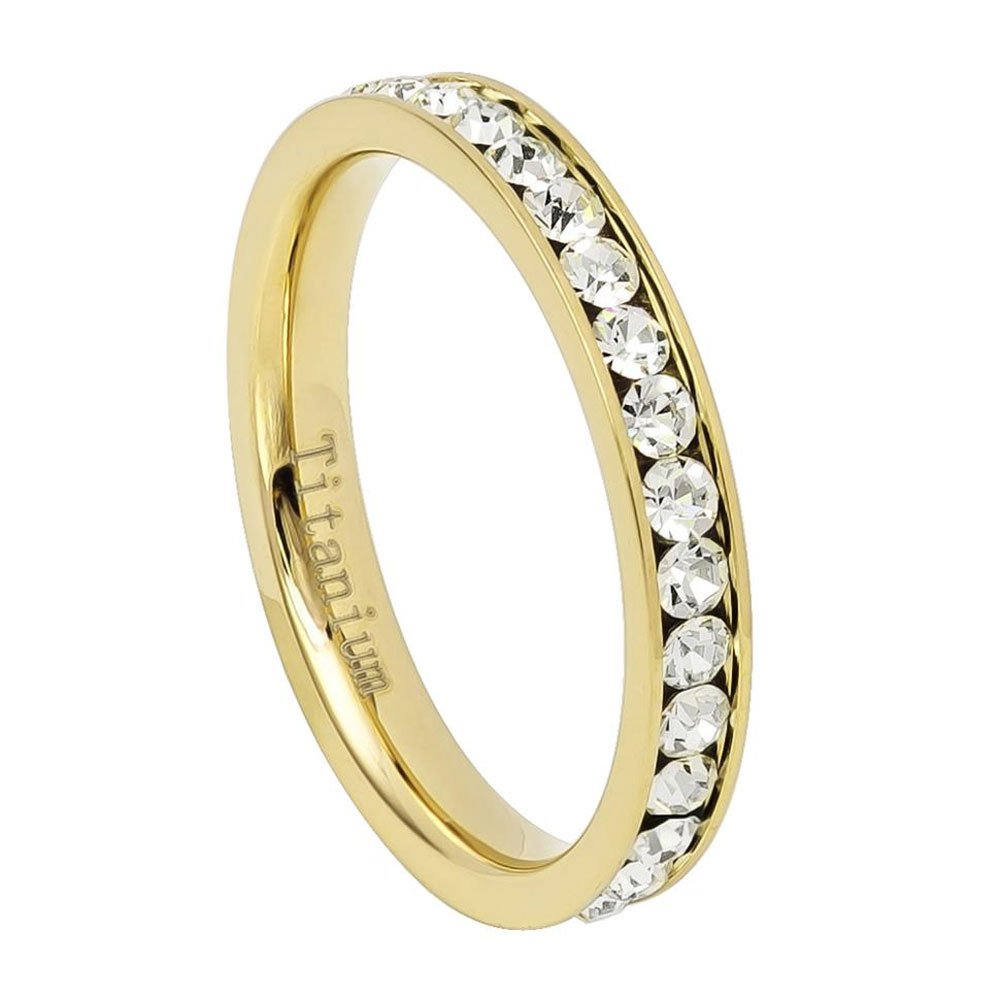 3MM Comfort Fit Titanium Wedding Band Gold Tone Round CZ Channel Eternity Titanium Ring (Size 4 to 8)