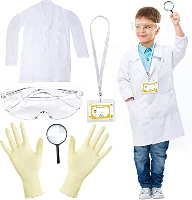 Beelittle Kids Scientist Lab Coat Costume Dress Up with Goggles ID Card Science Experiment Set for Age 3-10
