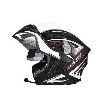 XERT Motocicleta Cascos Hombres Abatible Descenso Protección Transpirable Antiempañamiento Auriculares Bluetooth Seguridad Casco,Black3-