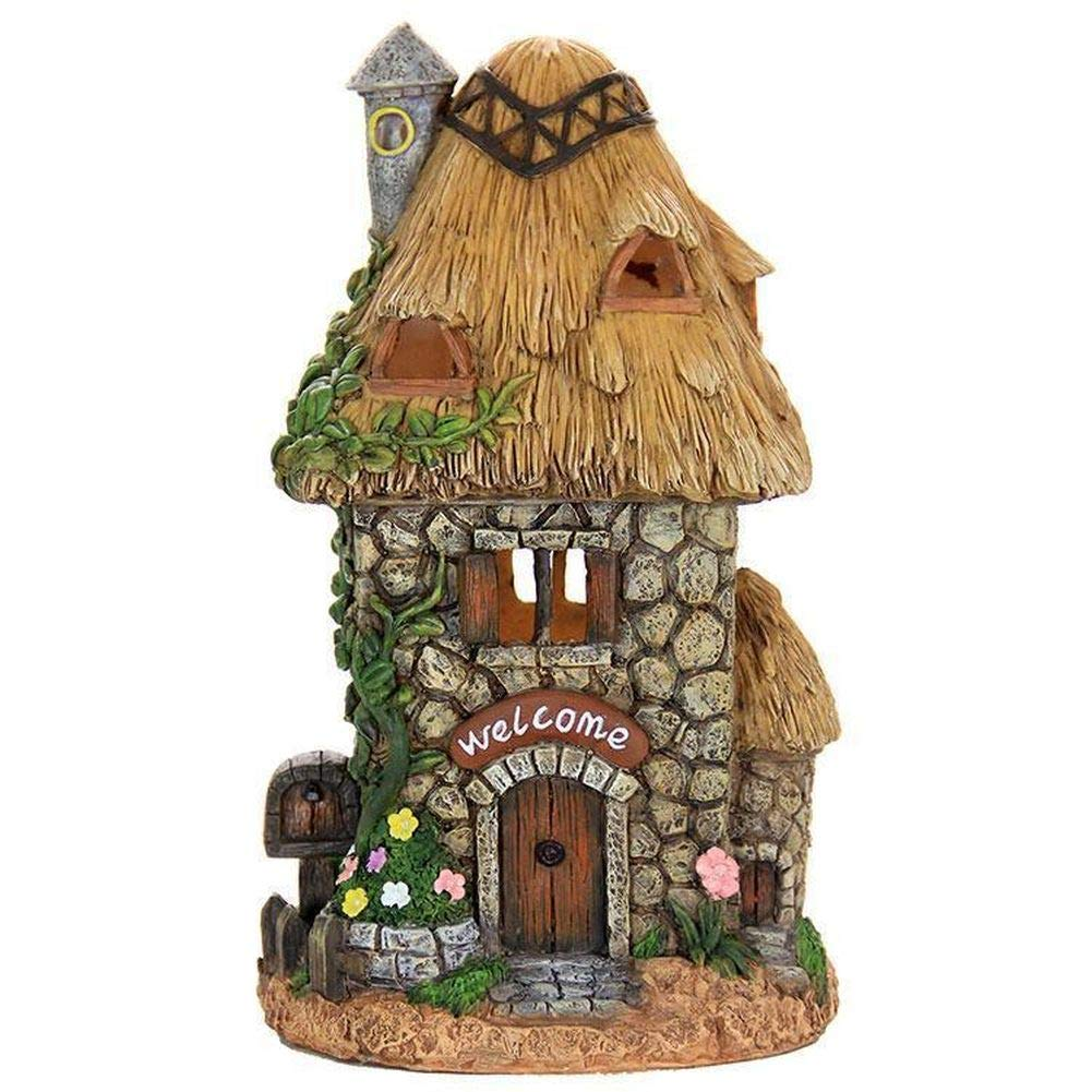 Fairy Garden Mini - Solar Stone Cottage with Straw Roof