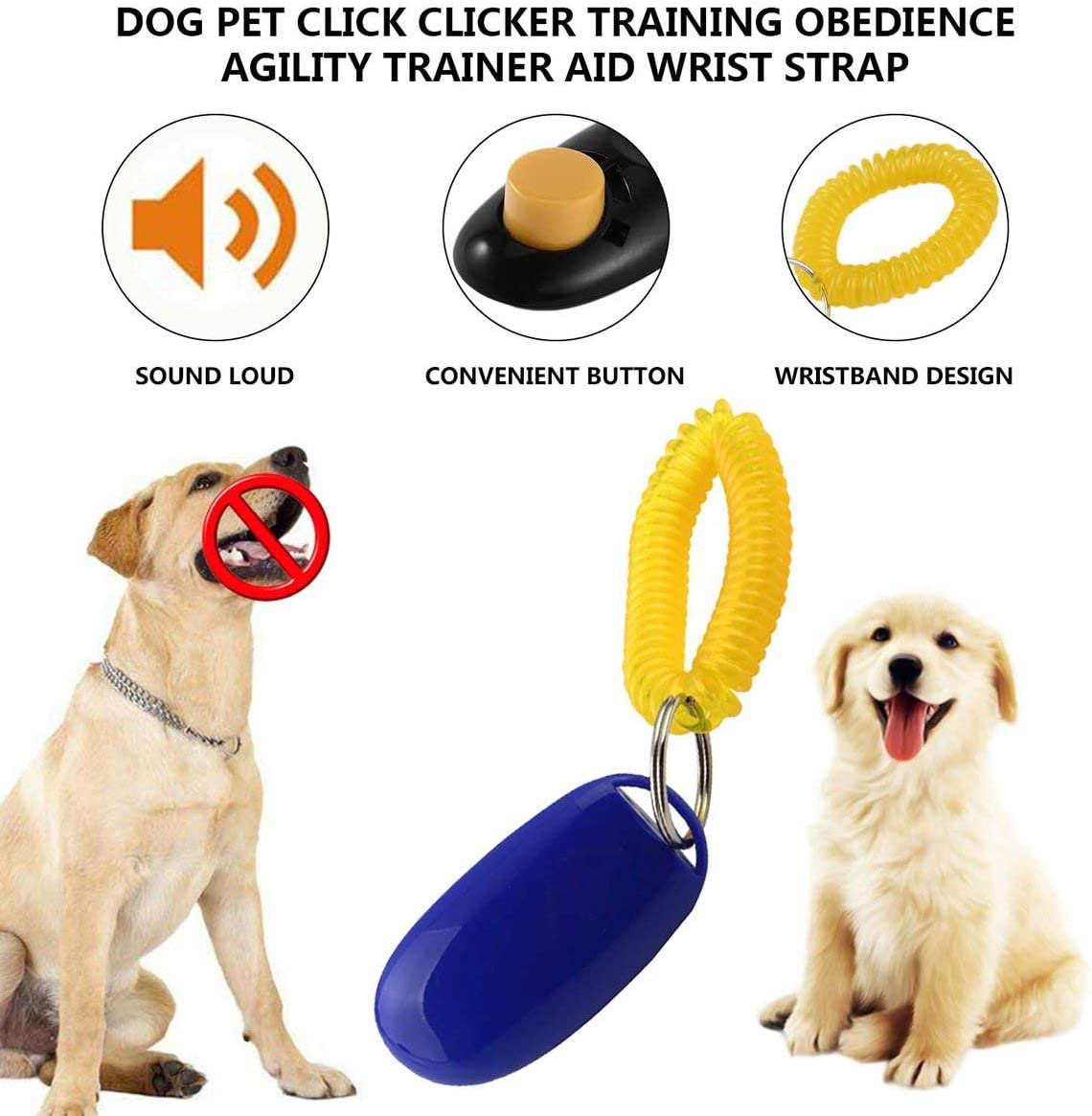 Dog Pet Click Clicker Training Obedience Agility Trainer Aid Wrist Strap Great for training Obedience//HTM//Agility Pet Supplies#Pennytupu