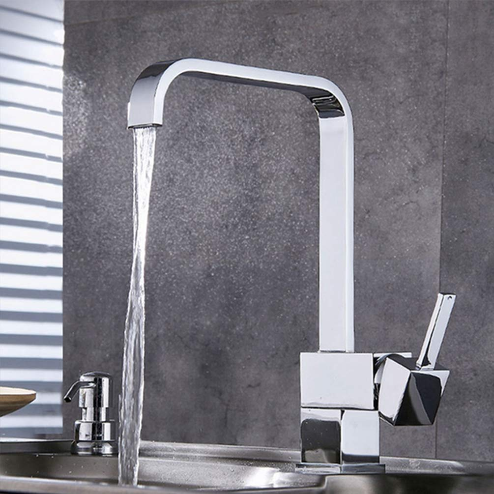 FZHLR Kitchen Faucet Brass Kitchen Sink Water Faucets Cold Hot Water Mixer Tap 360 Degree Swivel Deck Mounted Faucets Retro Style,Chrome