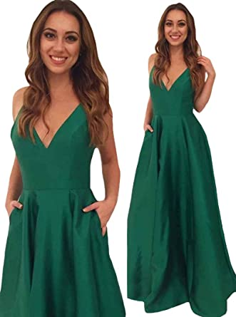 VinBridal Elegant Green V Neck Floor Length Satin Evening Gown Prom Dresses