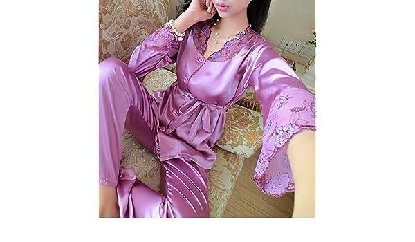 Edgar Dur 2016 Autumn Women Ladies Sexy Flower Lace Satin Silk Pajamas Sets Long Sleeve Tops+Pants Sleepwear Nightwear Pyjama Femme Long Sleeve Champagnxl ...