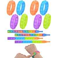 Push Pop Bubble Wristband Fidget Toys, Set of 12 Wearable Autism Special Needs Stress Reliever ,Hand Finger Press…
