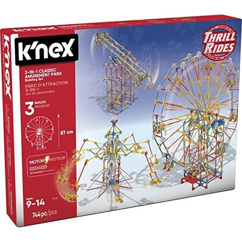 chollos oferta descuentos barato K nex 3 en1 744Pzs Knex Thrill Rides 3 en 1 Parque Atracciones Noria Sillas Voladoras Péndulo 744 Piezas Fábrica de Juguetes 41230
