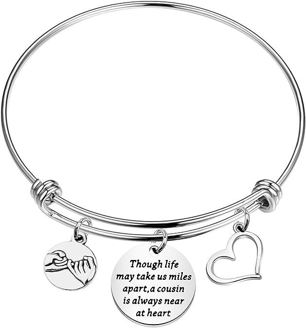 Cousin Gifts Friendship Bracelet Heart Anklet Gift for Cousin Gift for Her Cousin Birthday Gift Heart Bracelet Personalized Gift for Family
