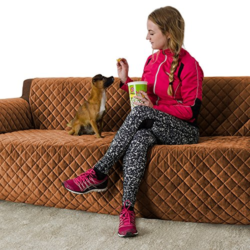 Furry Buddy Quilted Velvet Pet Sofa Cover, Water Resistant Furniture Cover, Stay Put Design with Non Slip Bottom, Tuck-in Tabs and Sofa Feet Ties, 3 Storage Pockets, Brown
