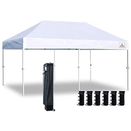 Keymaya 10 x20 Ez Commercial Instant Tent Heavy Duty Pop-up Canopy Shelter Bonus Weight Bag 4-pc Pack White