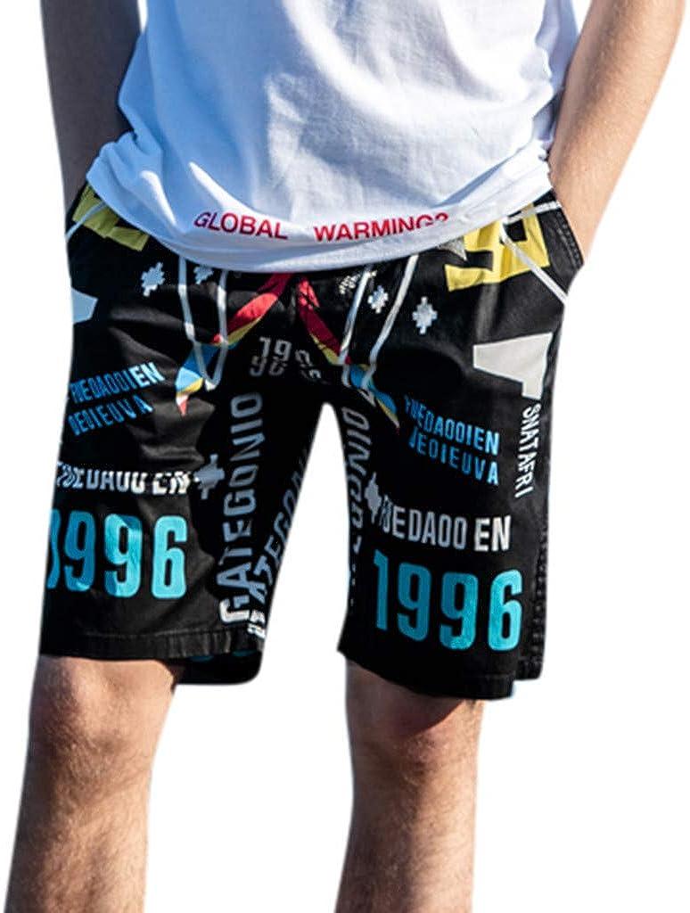 Men Spring Summer Drawstring Letters Trunks Quick Dry Beach Surfing Running Sports Shorts Huaa Expandable Waist Short