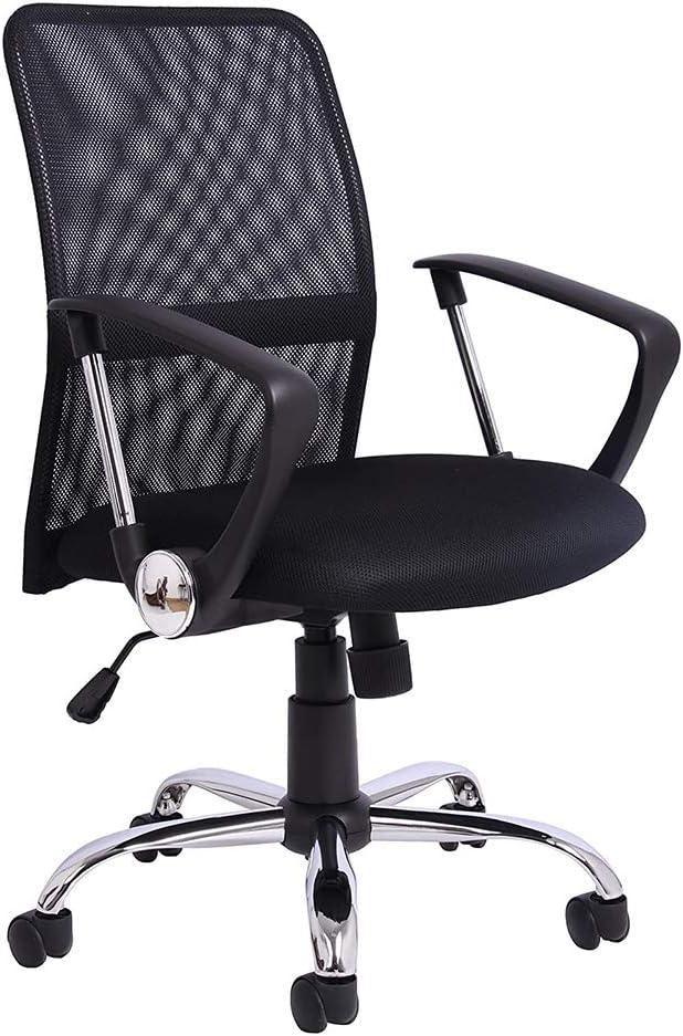 Silla de Escritorio con reposabrazos, Silla de Oficina Ajustable Para el Hogar con Giratorio y Ruedas, Malla, Negro