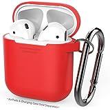 AirPods用AhaStyleシリコンケース [防塵栓] [オールラウンド保護] [携帯に便利] (改善版-赤い)