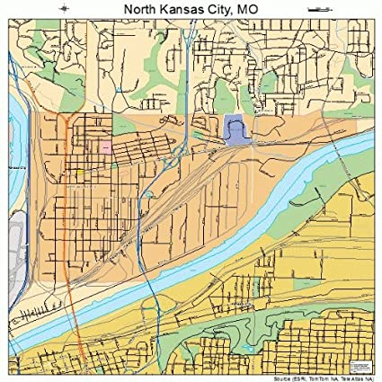 Amazon.com: Large Street & Road Map of North Kansas City, Missouri ...