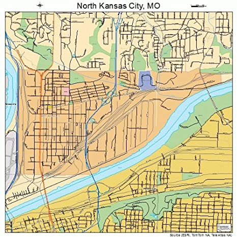 Amazon.com: Large Street & Road Map of North Kansas City, Missouri ...