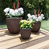 Pure Garden 50-LG1186 Set of 3 Fiber Clay Planters – Antique Brown Weather Resistant Modern Round Outdoor Replanting Pots with Drainage Holes