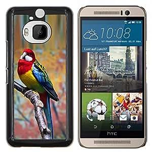 Caucho caso de Shell duro de la cubierta de accesorios de protección BY RAYDREAMMM - HTC One M9Plus M9+ M9 Plus - loro parolee rojo pájaro ramificación tropical