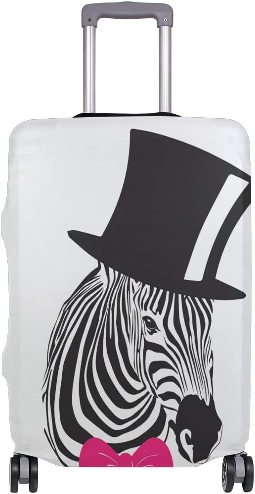 3D Elegant Zebra With Black Hat And Pink Bow Tie Print Luggage Protector Travel Luggage Cover Trolley Case Protective Cover Fits 18-32 Inch