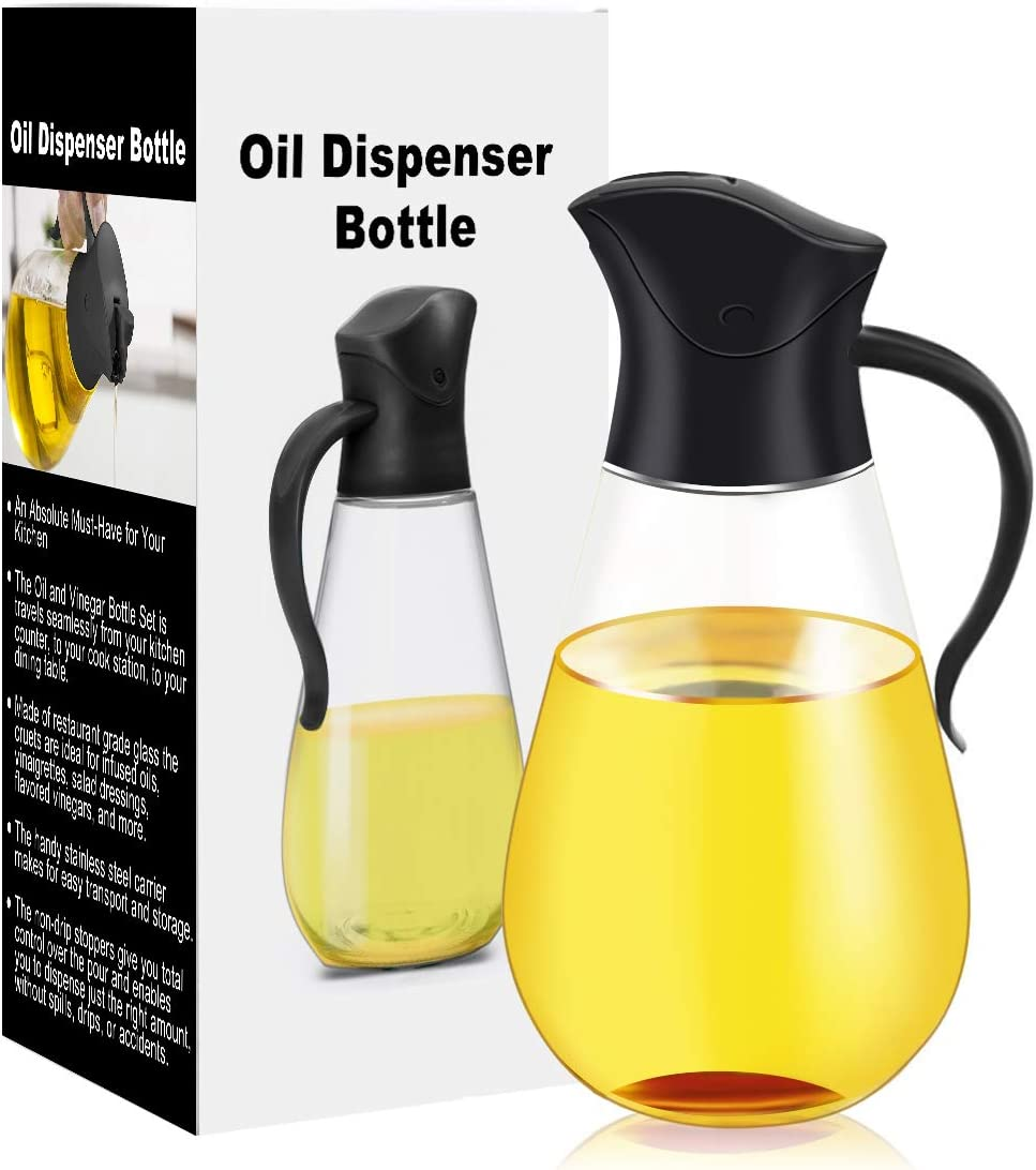 Oil Dispenser Bottle,Cooking Container Bottle 20.5 oz Glass Olive Oil Dispenser Non-Drip Kitchen Vinegar Barbecue Marinade Dispenser Bottle With Scale and Non-Slip Handle for Kitchen (Black)