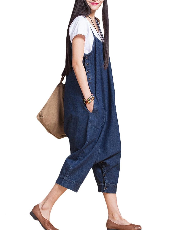 MatchLife Damen Jean Boden Taste Schließung Jumpsuit Kleider
